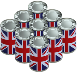 Food cans covered with Union Jacks